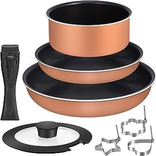 Sumeriy フライパンセット ダイヤモンドコート鍋 ガス火/IH対応 取っ手のとれる (ブラウン, 5点セット)