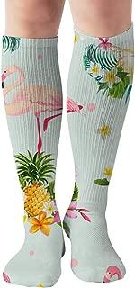 Flamingo Bird Tropical Flowers Retro Animals Vintage Tube Knee High Socks 50Cm Unisex Over-The-Calf Tube Sports Socks Extra Long Compression Stocking
