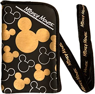 Disney Mickey Mouse Black Gold Lanyard with Cell Phone Case or Coin Purse (1 Lanyard)