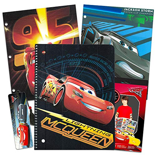 Disney Cars School Supplies Set -- Folders, Notebook, Bookmark, Stickers, and Tattoos