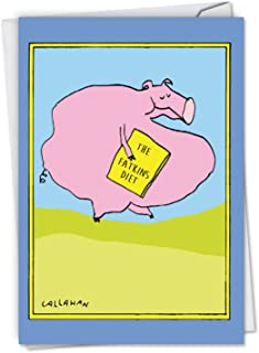 C6191BDG Fatkins Diet: Hilarious Birthday Card Featuring a Pig Trying Out A New Diet, with Envelope.