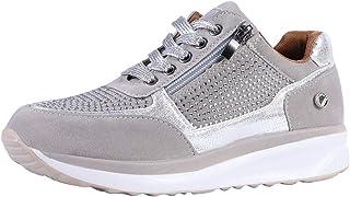 Shujin Baskets à paillettes pour femme - Chaussures de loisirs à lacets avec talon compensé - Chaussures de sport brillant...