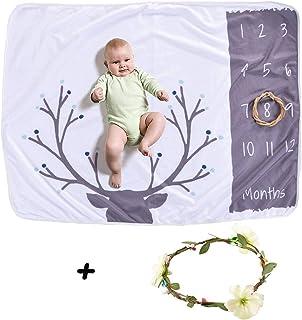 Funkeet Baby Monthly Milestone Blanket Photography Prop, Newborn Infants Swaddling Polar Fleece Month Photo Background Blanket (Deer)