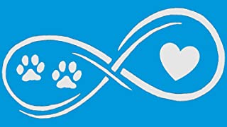 Bluegrass Decals Infinity Paws Heart Dog or Cat Decal Sticker (White, 7