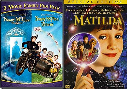 Matilda + Nanny McPhee & Nanny McPhee Returns DVD Set Classic Family Fantasy Movie Bundle Double Feature