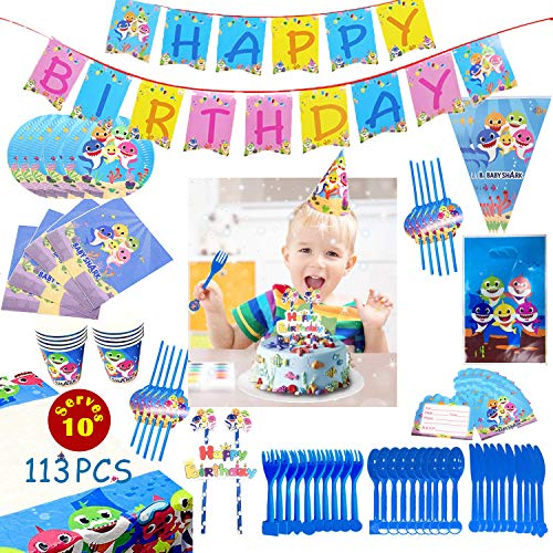 Shark Party Supplies, 113PCS Shark Party Decorations for Kids, Pre-School Graduation Party Supplies 2019, Shark Party Favors, Birthday Party Supplies for Boys Girls Kids, Happy Birthday Banner, Party Flatware, Paper Cups, Party Straws, Cake Flag for 1st Birthday Decorations, Serve 10 Guests