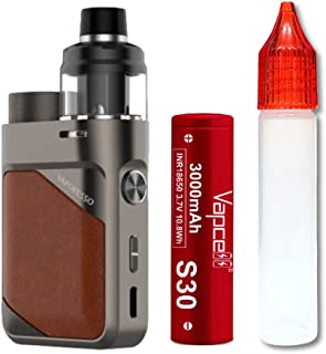 Vaporesso SWAG PX80 Mod Kit with SWAG Pod Tank + Vapcell S30 INR18650 3000mAh (Leather Brown)