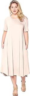 Women's Plus Size Short Sleeve Flowy A-Line Pocket Midi Maxi Dress (1X-5X)