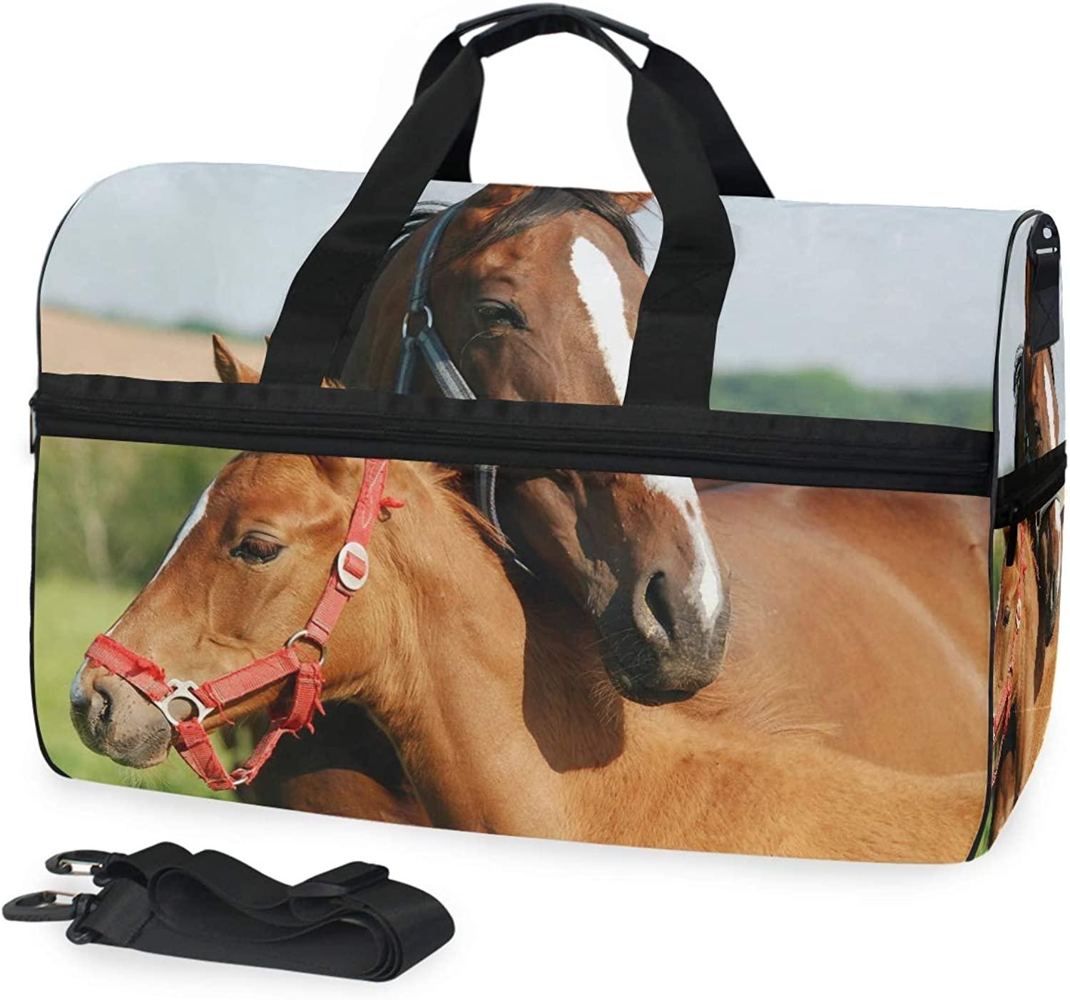 FANTAZIO Pony and Mommy Horse Sports Duffle Bag Gym Bag Travel Duffel with Adjustable Strap