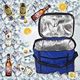 Sunshine smile Picnic Cool Bag, Lunch Bag Waterproof, Picnic Bag Foldable, Insulated Lunch Bag, Cooler Bag, Ice Bag for Camping, Gym, Travel, Picnic (Blue)