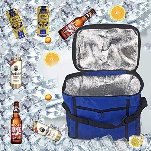 Sunshine smile Kühltasche Faltbar,Picknicktasche Kühltasche,Thermotasche Klein,Isoliertasche Lunch,Kühltasche Eistasche,Lunch Tasche,Kühlbox für Picknick (Blau)