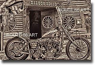 #10 SALOON DEADWOOD STURGIS HARLEY DAVIDSON SHOVELHEAD CHOPPER DEAD MANS HAND BIKER ART PRINT