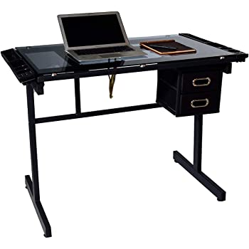 OneSpace Craft Station in Silver with Black Glass Drafting Table