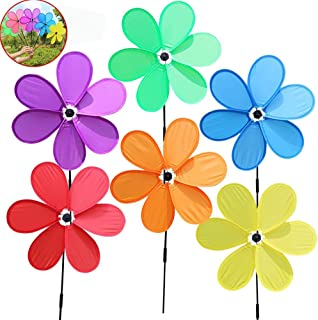 BELUPAID 6pcs Windmill Children Toys Six Leaf Festival Outdoor Lawn Decoration Single-Layer Pinwheels Spinners for Patio Lawn and Garden