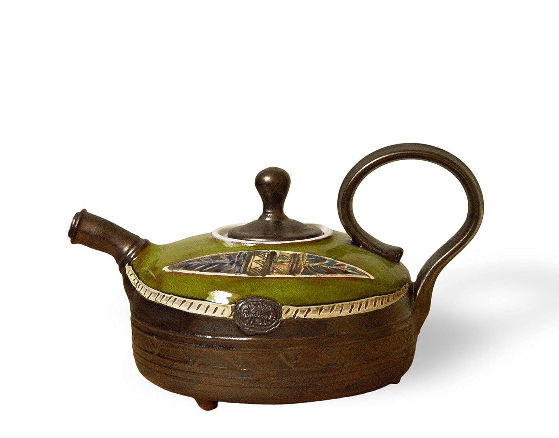 Handmade Pottery Teapot. Direct sale of manufacturer Green Superlatite Wheel Ceramic Pot Tea Art Thrown