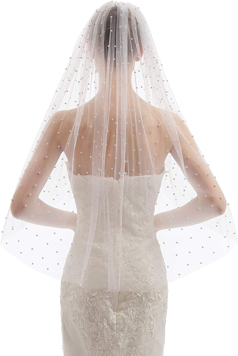 EllieHouse Womens Short Fingertip Length 1 Tier Pearl Wedding Bridal Veil With Metal Comb HD33