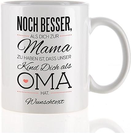 Preisvergleich für Herz & Heim® moderne Kaffeetasse als Kompliment für die beste Oma mit Gratis Druck Ihres Wunschtextes unser Kind