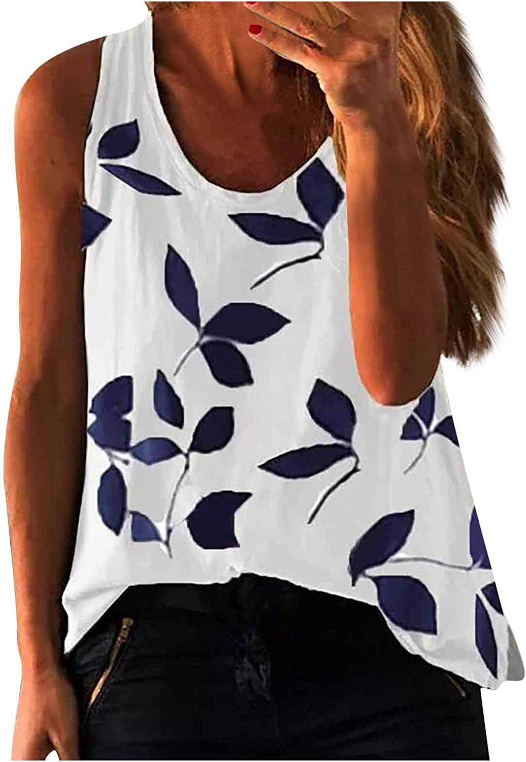 Women's Tropical Leaf Print Tank Tops O Neck Beach Loose Casual Sleeveless Camisole Tanks Tops and Blouse