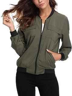 سترة نسائية خفيفة الوزن بسحاب معطف مضلع بياقة متعددة جيوب سترة ضد الريح