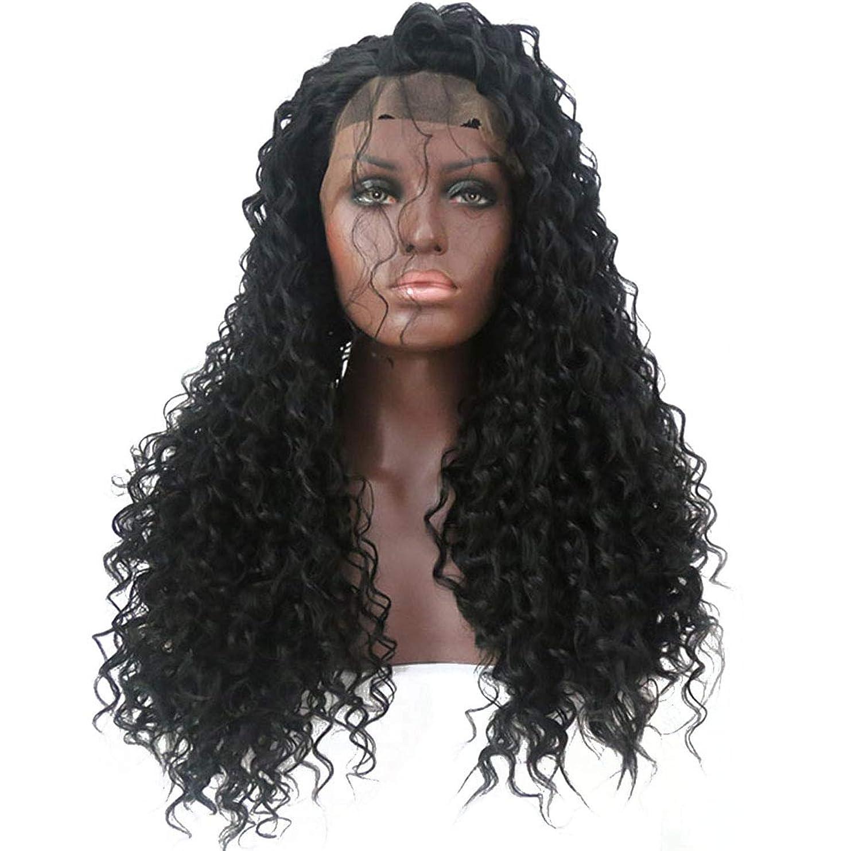 封建懲戒雨Yrattary かつらヨーロッパとアメリカの女性小容量黒ケミカルファイバーヘアフロントレースウィッグヘッドギア複合ヘアレースウィッグロールプレイングかつら (色 : 黒, サイズ : 24 inches)