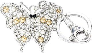 Quadiva ciondolo da borsa farfalla, da donna - Bag Charm Butterfly - (colore: Argento/Bianco/Crema), decorato con cristall...