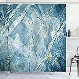 Alvaradod Marmor Duschvorhang,Exquisite Granit Stein Architektur Boden Natur verblasst Rock Bild,Stoff Stoff Badezimmer Dekor Set mit,Hellblau mit 12 Kunststoffhaken 180x210cm