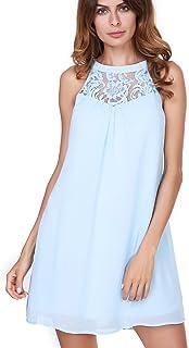 91fdcacd3b7 vanberfia Women s Lace Patchwork Loose Casual Mini Chiffon Dress