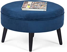 Adeco Round Tufted Fabric Ottoman Foot Rest Footstool - 23x23x14.5 Inch, Blue