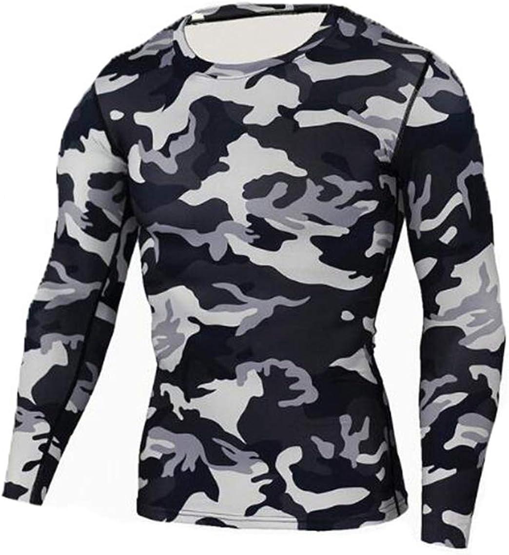 nihngvjm Men Compression Long Sleeve Tracksuit T-Shirt Camouflage Leggings Fitness Thermal Underwear