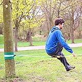 Relaxdays Slackline 15m Set mit Baumschutz Hilfsseil Ratsche und Tasche, einsteigerfreundlich, blau - 5