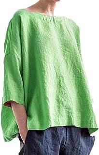 Suncolor8 Women's Retro Loose Linen Crewneck Beach Cover Up Solid Color Top T-Shirt Blouse