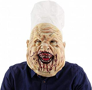 zj Chef Sangriento Carnicero Máscara de Halloween Terrorista Sombrero Máscara de Látex Cara de Sangre de Miedo Máscara Grita,1,1