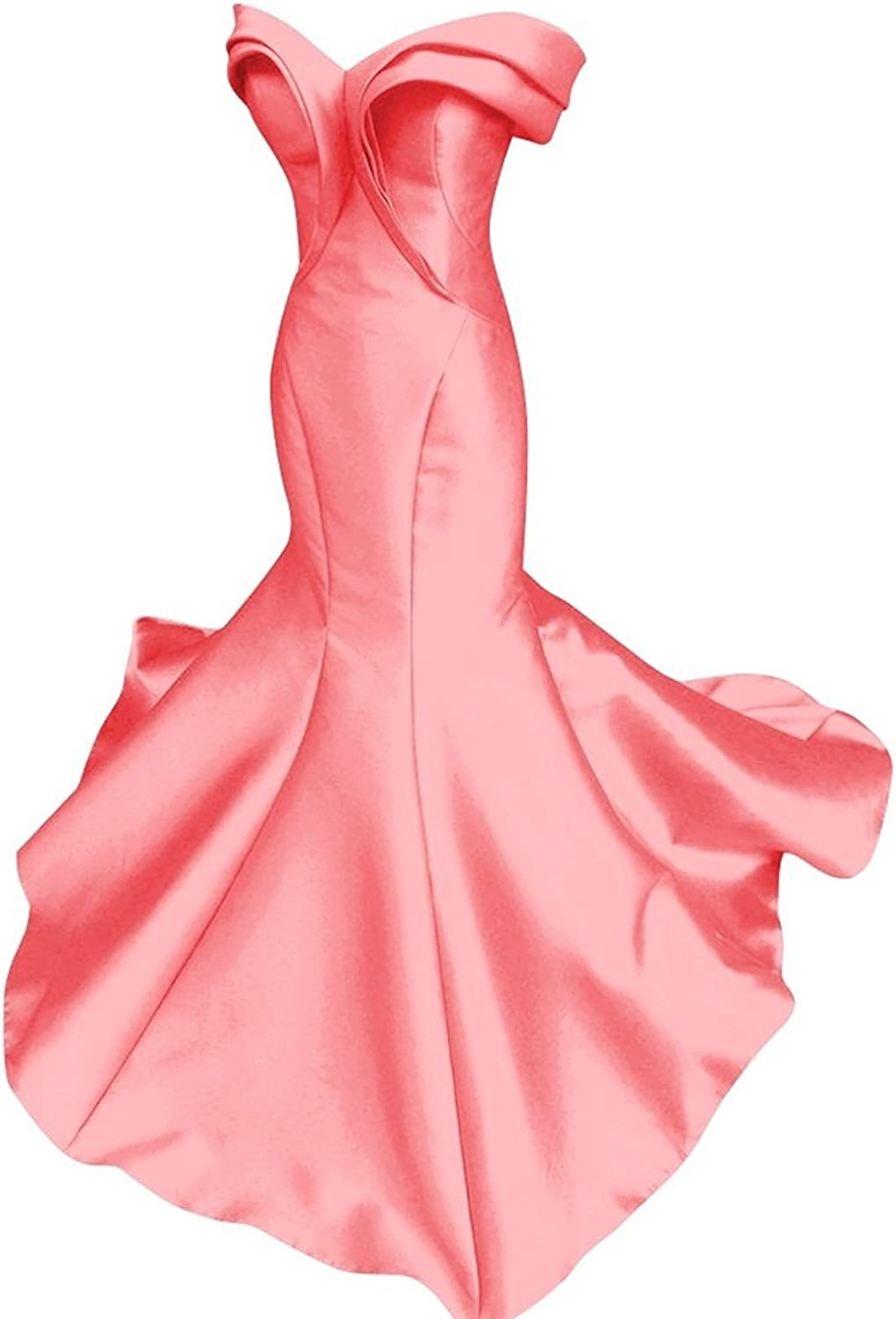Allenqueen Women's Pleat Long Mermaid Evening Gown Tired Skirt Satin Formal Prom Dress