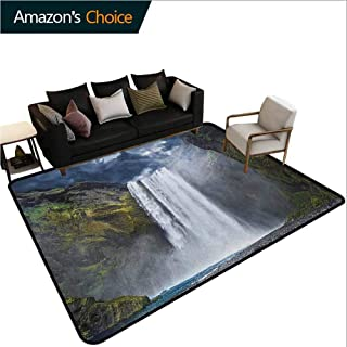 YucouHome Waterfall Heavy Duty Area Rug Hearts, Waterfall and Grand Cliffs in Northern America Force of Nature Art Print, Fashionable High Class Living Dinning Room(5'x 8') Green Blue White