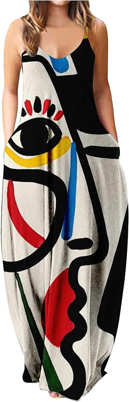 EZ Tuxedo Women's Casual Maxi Dress Spaghetti Strap Sleeveless O Neck Print Plus Size Sundress