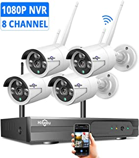 Security Camera System Wireless,HD Video Security System[8CH Expandable System] 4Pcs 1080P 2.0MP IP Security Camera Wireless Indoor/Outdoor IR Bullet IP Cameras WiFi,P2P, NO Hard Drive