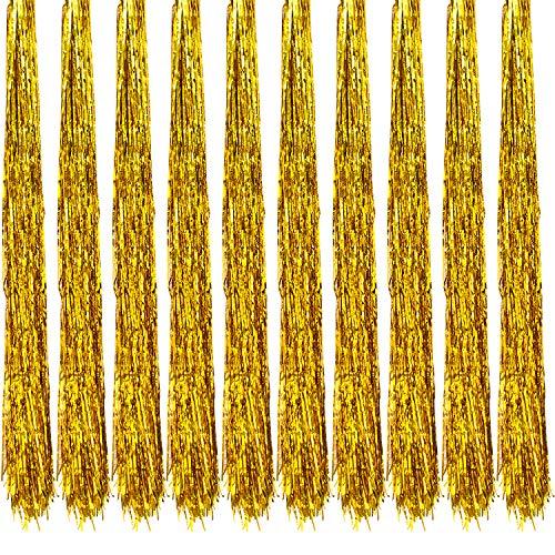 Oblique Unique® 10x Lametta Glänzend 100cm für Weihnachtsbaum Baumschmuck Weihnachtsdeko Weihnachten Party Feier Deko Silber Gold Weiß Schwarz Pink Lila Blau Grün - Farbe Wählbar (Gold)