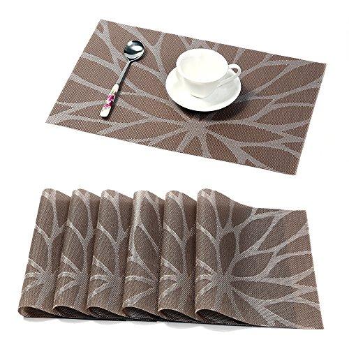 Pauwer Tischset mit 6 für Küche Speisetisch PVC Abgrifffeste Platzsets rutschfest abwaschbar platzdecken Hitzebeständig Platzsets