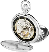 Woodford Mens Double Hunter Skeleton Swiss Pocket Watch - Silver
