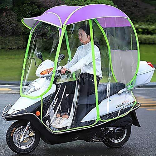 SKYWPOJU Paraguas de Scooter de Motor Totalmente Cerrado Movilidad Parasol y Cubierta de Lluvia Impermeable, Universal (Color : Pink, Size : Rearviewmirror)