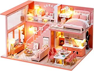 PWTAO DIY Miniature Dollhouse Kit Mini Doll House Accessories Wooden Model Kits with Furniture Toy Plus Dust Proof and Mus...