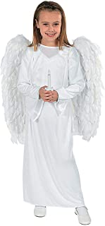 OTC Child Small/Medium Angel Costume with Wings and Candle for Christmas White