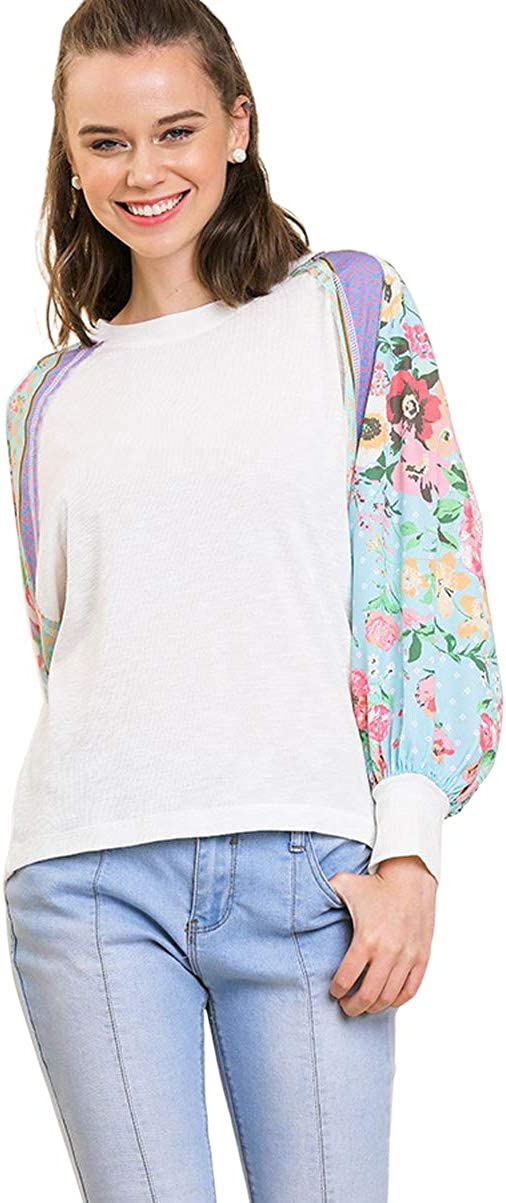 Umgee Women's Floral Mixed Print Knit Sleeve Puff Top 人気 百貨店