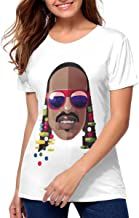 Womens Stevie Wonder Stylish Music Band Short Sleeves T-Shirt