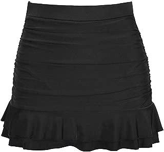 Fragrancety Women's Black Swimsuit Skirt High Waisted Bikini Skirts Ruffled Skinny Short Beach Skirts S-2XL