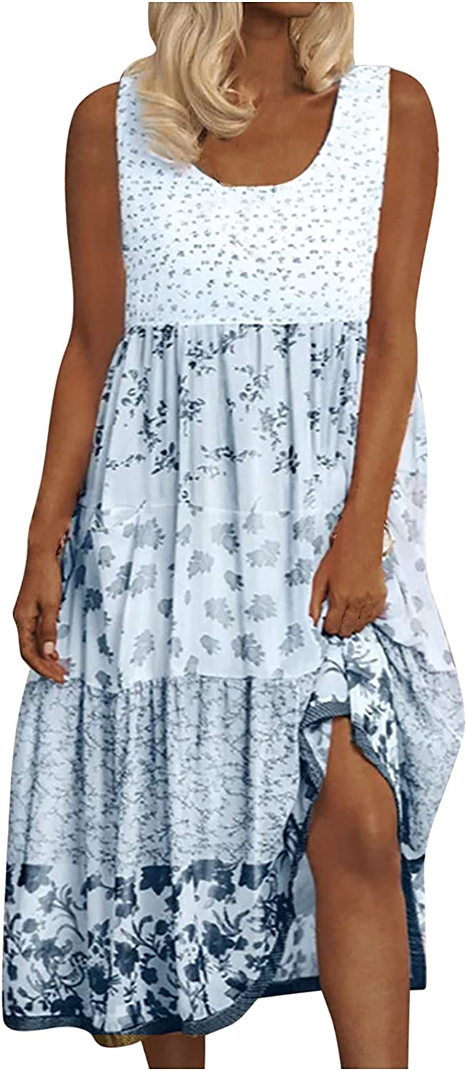 Women's Tropical Dresses Floral Summer Loose Sundresses for Women Casual Flowy Tank Dresses That Hide Belly Fat