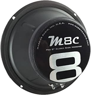 Massive Audio M8C - 8 Inch, 300 Watts, Pro Audio Midrange Closed Back Speaker for Cars, Stage and DJ Applications. Sold Individually.