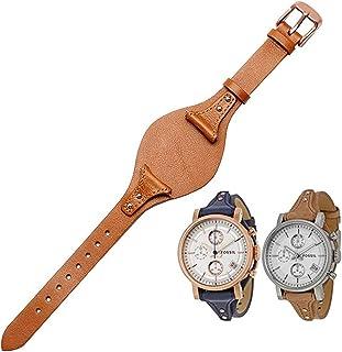 حزام ساعة للنساء من KAMIU سريع الإصدار 18 مم من جلد العجل الأصلي حزام ساعة فوسيل بديل لES4114 ES4113 ES3625