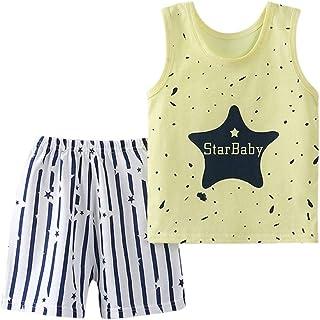 ESHOO Baby Boy Clothes Cartoon Print Summer Sleeveless Tops and Short Pants Outfits Set