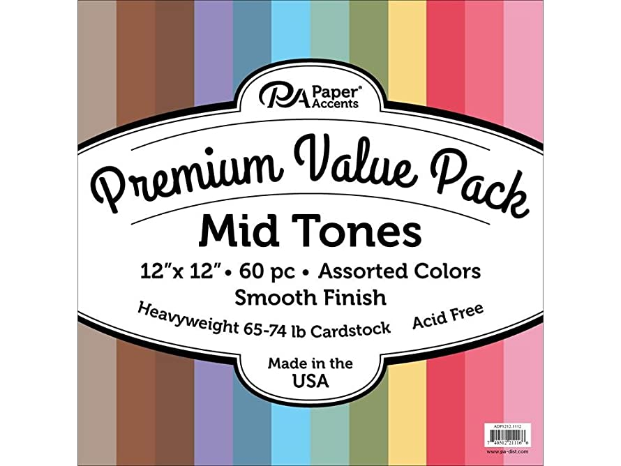 Accent Design Paper Accents Premium Cdstk Pk 60pc AST Cardstock 12x12 Smooth MidTones, 12